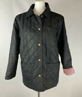 Eddie Bauer Womens Medium Black Quilted Jacket Barn Coat Poly Fill Transitional