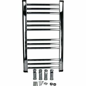 700 x 400mm Chrome-Plated Flat Towel Radiator Heated Rack Wall Mounted Brackets