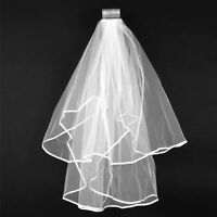 Ivory Veil Satin Edge for wedding bridal brides maid with comb Elbow 2T