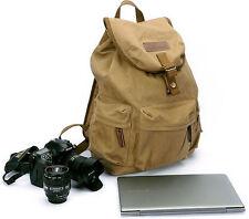 Retro Canvas SLR Camera Backpack DSLR Bag Casual Computer Case Racksack For Sony