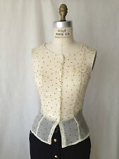 PIAZZA SEMPIONE. IVORY SILK WITH BLACK POLKADOTS SLEEVELESS BLOUSE. SMALL. ITALY