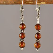 Sterling Silver Natural Baltic Amber Faceted Leverback Dangle Earrings