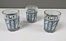 "Vintage Wedgwood Grecian Blue Shot Glasses Set of 3  - 2 1/4"" Tall"