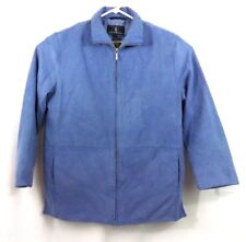 London Fog All Weather Jacket Suede Periwinkle Blue Large Reg Lined Zip Up
