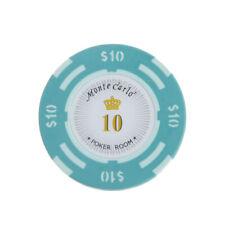 10x Casino Poker Fun Clay Chips 10 Dollar Denominazione Label Crown Design