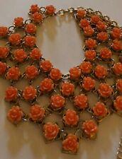 Colored Roses Vintage Bib Necklace,Coral