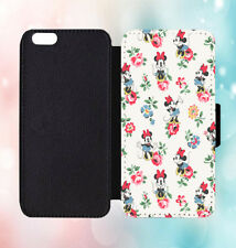Disney Minnie Pattern Leather Flip Wallet Phone Case Cover For iPhone & Samsung