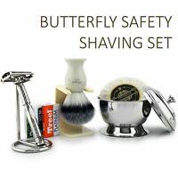 Ready to Use Shaving Gift Set Synthetic Brush, TwistOpen Safety Razor Bowl &Soap