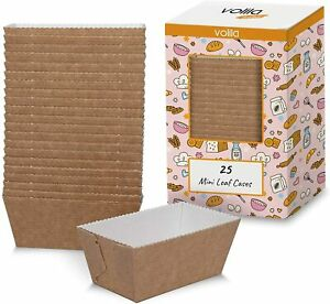 Mini Loaf Cake Cases for Disposable Baking Moulds Paper Brown Moulds 25 Pack New