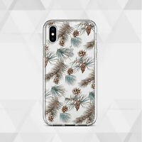 Pine Cone iPhone XR Case Floral iPhone 12 7 8 Clear Cover iPhone 11 XS Silicone
