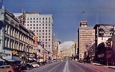 Salt Lake City Ut Main Street Scene Utah Vintage Postcard ca 1950s