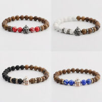 Men's 8MM Helmet Beaded Wooden Lava Rock Stretch Yoga Reiki Women Men Bracelets