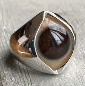 Prosthetic Eye Ring Hand Painted Dark Warm Brown. Glass .925 Sterl silver Sz 8