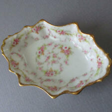 Antique LIMOGES Porcelain OPEN SALT Tendrils + Swags of PINK ROSES w GILT Trim