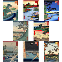 Japanese Woodblock Utagawa Hiroshige Ukiyo-e Unframed Art Print Poster Pack of 8