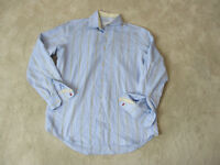 Robert Graham Flip Cuff Button Up Shirt Size Adult Large Blue Brown Casual Mens