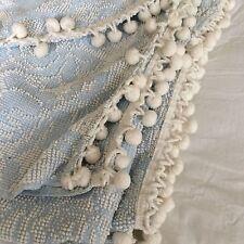 "Vtg chenille bedspread blue rose pom pom fringe SHABBY COTTAGE CHIC 117X80"""
