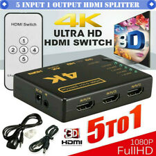 5 To 1 HDMI Splitter Selector Switch Full HD 1080p 3D 4K IR Remote Hub cable