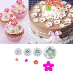 4PCS Mini Plum Flower Plastic Cookie Cutter Sugarcraft Mould Fondant Tools Set