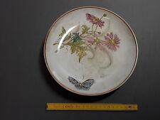 très ancien Plat rond  céramique  déco fleurs papillon vaisselle ancienne