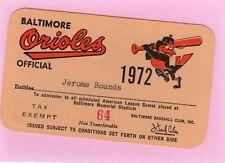 1972 Pass Ticket Jim Catfish Hunter 100 Win/21 YR/224 Life/9 IP/4 K Oakland A's