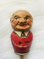 Vintage Wooden Carved Cork Bottle Stopper wood figural man folk art