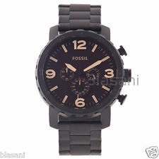 Fossil Original JR1356 Men's Nate Black Stainless Steel Watch 50mm