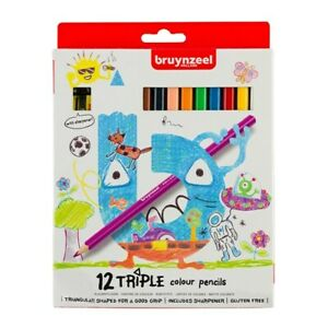 Kids Triple Colour Colouring Pencils  pack of 12 + Sharpener BRUYNZEEL
