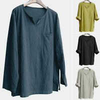 Men's Brief Breathable Comfy Solid Linen Long Sleeve Loose Casual T shirt Blouse