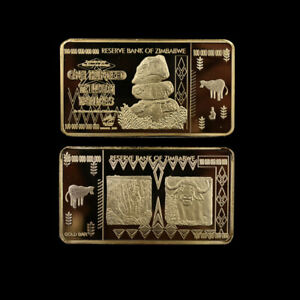 Home Decorative 100 Trillion Zimbabwe Gold Bar Metal Coin Worth Collections