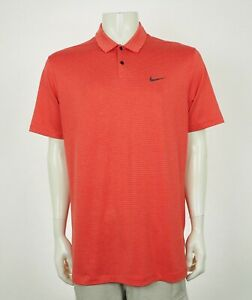 Tiger Woods TW Nike Red Stripe Control Golf Polo Shirt Mens Large