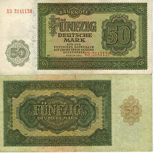 GERMANY 50 DEUTSCHE MARK BANKNOTE 1948 DEUTSCHEN NOTENBANK BERLIN WWII WW2