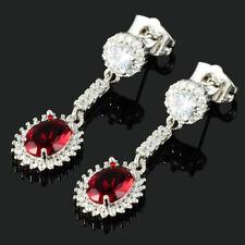 Dangle Drop Studs Prong Setting Oval Cut Red Ruby Gemstones Piercing Earrings