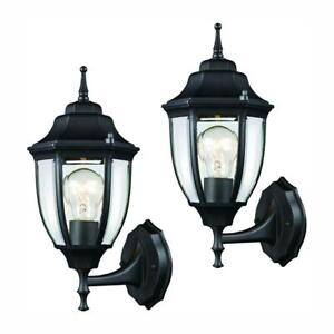 Hampton Bay 1-Light Black Outdoor Wall Lantern Sconce with Clear Glass (2-Pack)
