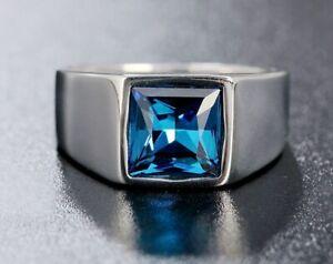 Men / Women Blue Cubic Zirconia Silver Titanium Stainless Steel Ring Men 8-11