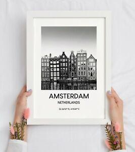 Amsterdam Travel Print Black and White Houses Landmark Wall Art Décor Gift