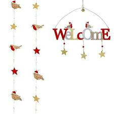 Robin Wooden Christmas Garland with Stars - Robin Welcome Sign - Choose Type