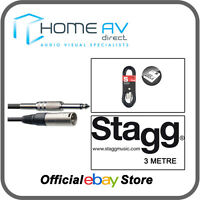 Stagg SAC3PXMDL S Series 6mm Audio to M XLR 3m (10ft) Cable  BLACK - FREE P&P