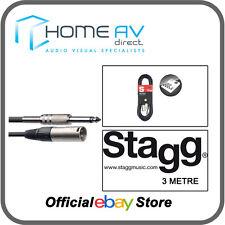 Stagg sac3pxmdl S per Audio 6mm Series M XLR 3m (10ft) Cavo Nero-Gratis P&P