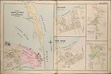 1889 MIDDLETOWN EATONTOWN FAIR HAVEN OCEANIC MONMOUTH NEW JERSEY COPY ATLAS MAP