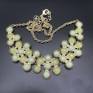 """Gold Tone & Two Tone Green Collar Bib Statement Necklace 22"""" Adjustable"""