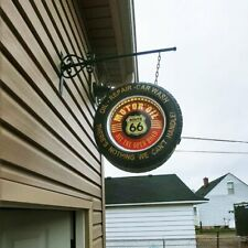 Retro Historic Route 66 Double Sided Light Up Hanging Tire Metal Indoor Outdoor