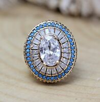 925 Sterling Silver Handmade Antique Turkish Zircon Ladies Ring Size 6-12