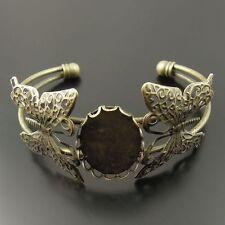 Antique Style Bronze Tone Cameo Setting Butterflies Bracelet Charm Findings 2pcs