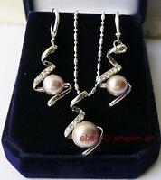 Beau en rose perles de culture,collier et earrings