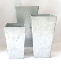 Set of 3 Rustic Metal Galvanized Garden Planters by Kinsman Company-NEW