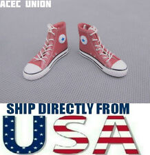 "1/6 Converse All Star Style Sneakers Maroon For 12"" Male Figure - U.S.A. Seller"