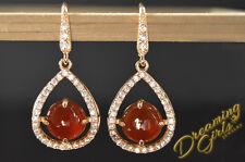 Bridal Luxury Rose Gold Plated Ruby Austrian Crystal Teardrop Dangle Earrings