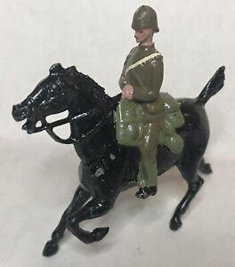 1930 Britains Toy Soldier Green Khaki Mounted Rifleman Green Pith Helmet Cavalry