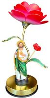 "15 "" Tall Flower Touch Lamp w/ San Judas Tadeo Statue 7"" Night Lamp New"